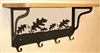 Wooden Shelf with Metal Coat Hooks- Oak Leaf Design