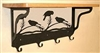 Wooden Shelf with Metal Coat Hooks- Chickadee Design