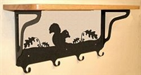 Wooden Shelf with Metal Coat Hooks- Squirrel Design