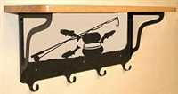 Wooden Shelf with Metal Coat Hooks- Fly-Rod Fish Design