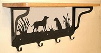 Wooden Shelf with Metal Coat Hooks- Lab Retriever Design