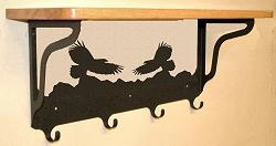 Wooden Shelf with Metal Coat Hooks- Eagle Design