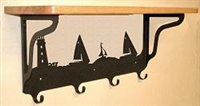 Wooden Shelf with Metal Coat Hooks- Lighthouse/Sailboat Design