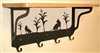 Wooden Shelf with Metal Coat Hooks- House Cat Design