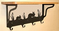 Wooden Shelf with Metal Coat Hooks- Rabbit Design