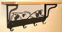 Wooden Shelf with Metal Coat Hooks- Pinecone Design
