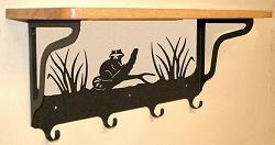 Wooden Shelf with Metal Coat Hooks- Raccoon Design