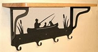 Wooden Shelf with Metal Coat Hooks- Fisherman Design