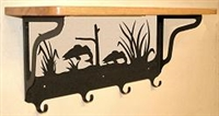 Wooden Shelf with Metal Coat Hooks- Walleye Design