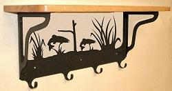 Wooden Shelf with Metal Coat Hooks- Trout Design