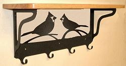 Wooden Shelf with Metal Coat Hooks- Cardinal Design