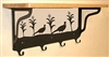 Wooden Shelf with Metal Coat Hooks- Pheasant Design