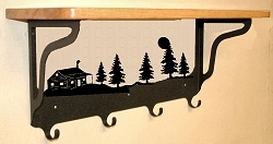 Wooden Shelf with Metal Coat Hooks- Cabin Design