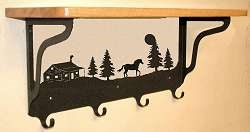 Wooden Shelf with Metal Coat Hooks- Horse and Cabin Design