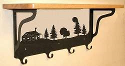 Wooden Shelf with Metal Coat Hooks- Turkey and Cabin Design
