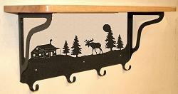 Wooden Shelf with Metal Coat Hooks- Moose and Cabin Design