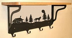 Wooden Shelf with Metal Coat Hooks- Wolf and Cabin Design