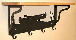 Wooden Shelf with Metal Coat Hooks- Canoe Design