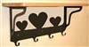 Wooden Shelf with Metal Coat Hooks- Heart Design