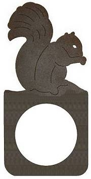 Rustic Metal Door Knob Backing Plate- Squirrel Design