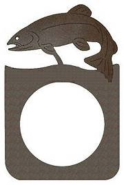Rustic Metal Door Knob Backing Plate- Trout Design