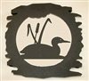 Rustic Metal Trivet- Loon with Cattails Design