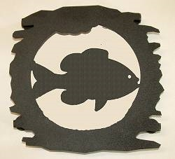 Rustic Metal Trivet- Pan Fish Design