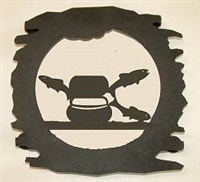 Rustic Metal Trivet- Fly-Rod Fish Design