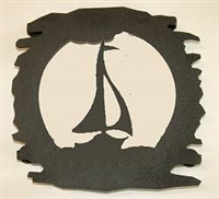 Rustic Metal Trivet- Sailboat Design