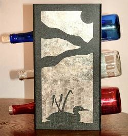 Metal Countertop Wine Bottle Rack- Loon with Cattails Design