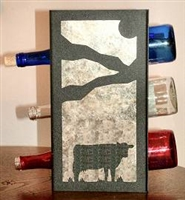 Metal Countertop Wine Bottle Rack- Cow Design