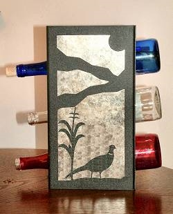 Metal Countertop Wine Bottle Rack- Pheasant Design