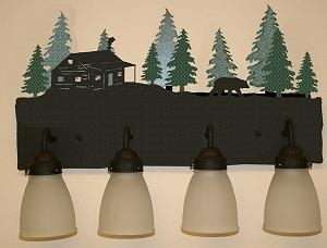 3-D Bath Light- Bear and Cabin Design