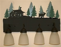 3-D Bath Light- Elk and Cabin Design