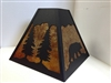 Rustic Square Lamp Shade- Bear and Trees Design
