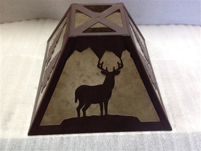 Rustic Square Lamp Shade- Deer and Trees Design