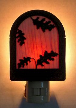 Rustic Decorative Night Light- Oak Leaf Design