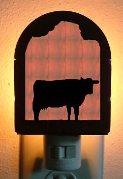 Rustic Decorative Night Light- Cow Design