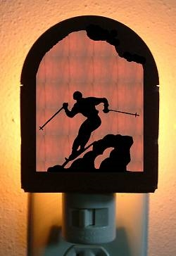 Rustic Decorative Night Light- Skier Design
