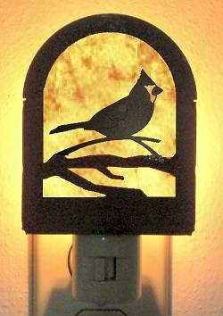 Rustic Decorative Night Light- Cardinal Design