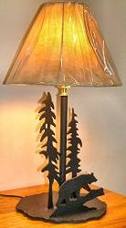 Heavy Steel Rustic Table Lamp - Bear Design- Style 2