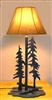 Heavy Steel Rustic Table Lamp- Pine Tree Design