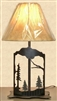 Metal Art Table Lamp- Pine Tree Design