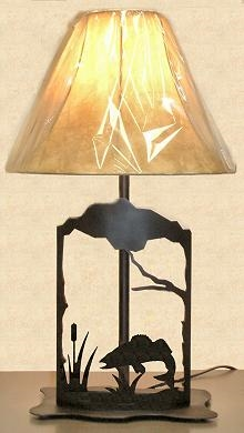 Metal Art Table Lamp- Walleye Design