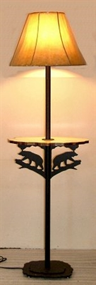 Rustic Floor Lamp With Shelf- Bear Design