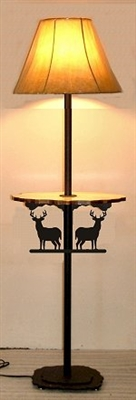 Rustic Floor Lamp With Shelf- Deer Design