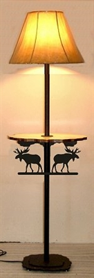 Rustic Floor Lamp With Shelf- Moose Design