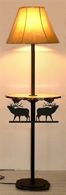 Rustic Floor Lamp With Shelf- Elk Design