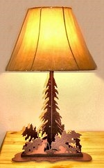 Triangle Base Table Lamp- Oak Leaf Design