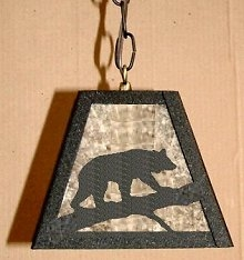 Pendant Swag Light- Bear on a Log Design